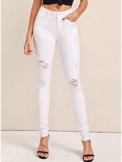 Solid Raw Hem Ripped Skinny Jeans
