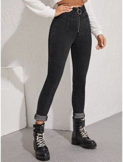 O-ring Zip Fly Skinny Jeans