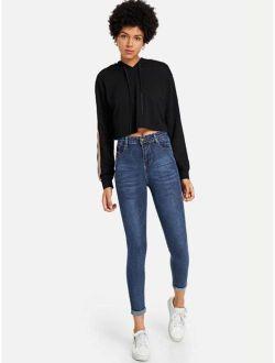 Dark Wash Cuffed Hem Skinny Jeans
