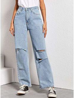 Ripped Straight Leg Boyfriend Jeans
