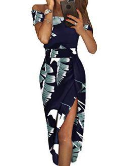 Dearlove Women's Casual Off The Shoulder Floral Print High Slit Evening Party Dress