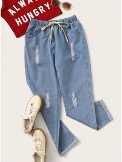 Ripped Drawstring Waist Jeans