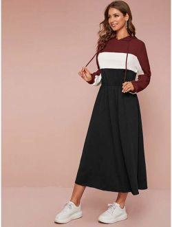 Cut-and-sew Elastic Waist Drawstring Hooded Sweatshirt Dress