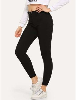Solid Button Waist Ankle Jeans
