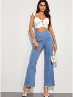 Solid High Rise Flare Leg Jeans