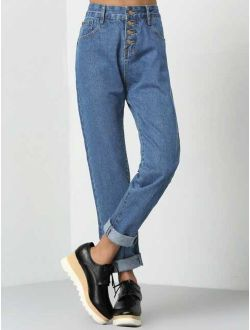 Button Fly Roll Hem Mom Jeans