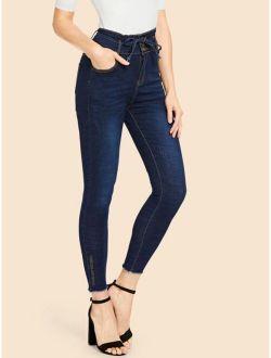 Raw Hem Knot Faded Wash Jeans