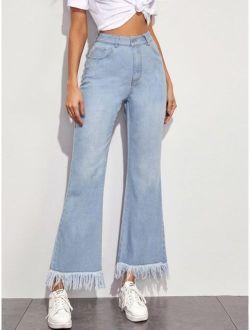 Solid Raw Hem Flare Leg Jeans