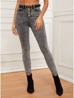 Button Fly Acid Wash Skinny Jeans Without Belt