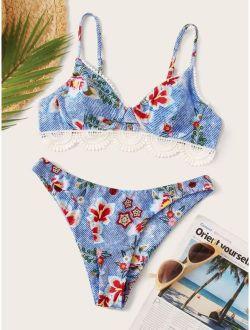 Floral Print Lace Trim Underwire Top With High Cut Bikini