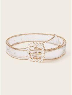 Faux Pearl Decor Transparent Belt