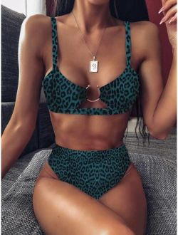 Leopard Top With High Waist Bikini Set