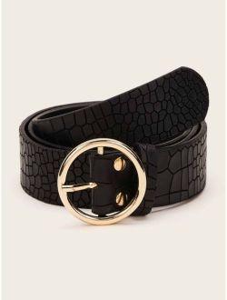 Croc Pattern O-ring Buckle Belt