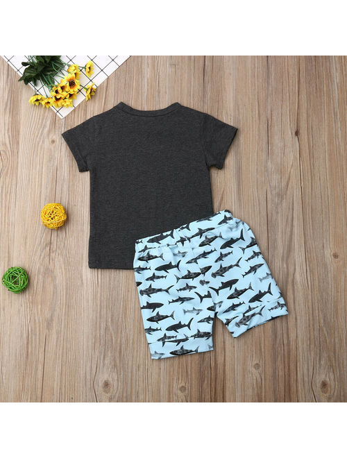 XIAXAIXU Toddler Baby Boy Shark Summer Clothes Tops T-Shirt Shorts Pants 2PCS Outfits Set