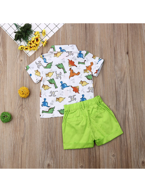 Toddler Kids Baby Boys Summer Clothes T-shirt Tops+Shorts Pants Outfit 2pcs Set Green 18-24 Months