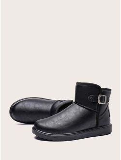 Men Buckle Decor Ankle Boots