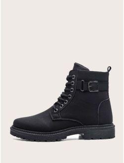 Men Buckle Decor Lace-up Combat Boots