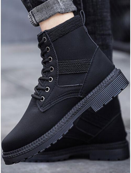 Men Woven Detail Lace-up Front Boots