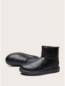 Men Faux Fur Lined Ankle Boots
