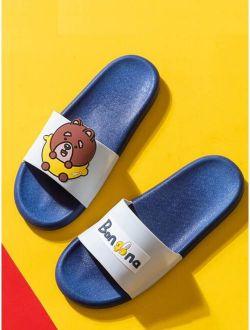 Men Bear Pattern Open Toe Sliders