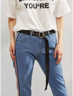 Belt With Metal Circle Buckle