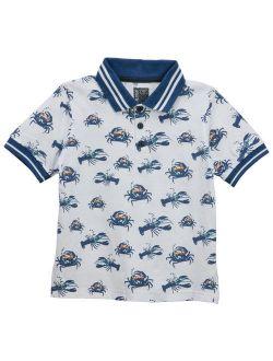 No Retreat Boys' Fashion Print Short Sleeve Polo Shirts (Little Boys & Big Boys)