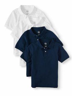 Boys 4-18 School Uniform Short Sleeve Pique Polo Shirts, 4-pack Value Bundle