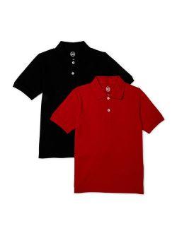 Boys 4-18 & Husky Short Sleeve Pique Polo, 2-pack