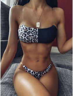 Leopard Top With Thong Bikini Set