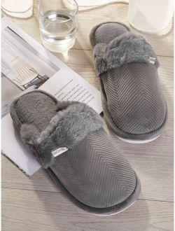 Men Contrast Faux Fur Slippers