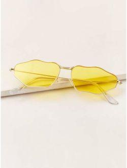 Metal Irregular Frame Sunglasses With Case