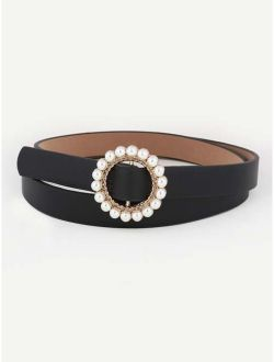 Faux Pearl Decorated Buckle Belt