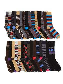 Mens Dress Crew Trouser Socks - 30 Pack Pattern and Solid Formal Fashion Funky Assortment 2 by John Weitz (Pattern2)