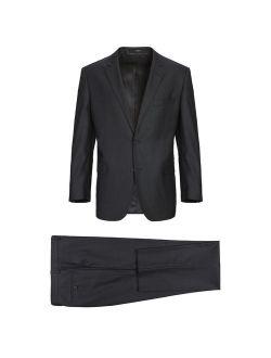 Men's Slim Fit Two Piece Black Solid Wool Suit