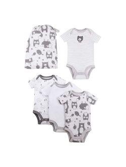 Lamaze Organic Baby Short Sleeve Pure Organic Bodysuits, 4-pack Gift Baby Set (Baby Boys or Baby Girls, Unisex)