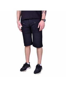 WAIMEA Mens Slim Fit Stretch Moto Denim Jean Shorts