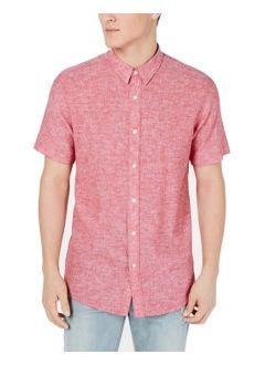 Mens Shirt Regular Fit Button Up Linen 2XL