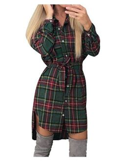 StyleDome Women's Check Plaid Long Sleeve Tunics Casual Tee Tops Asymmetric Hem Shirt Dress