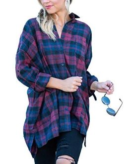 MISSLOOK Women's Plaid Shirts Button Down Tops Flannel Roll-up Sleeve Blouses Tunics