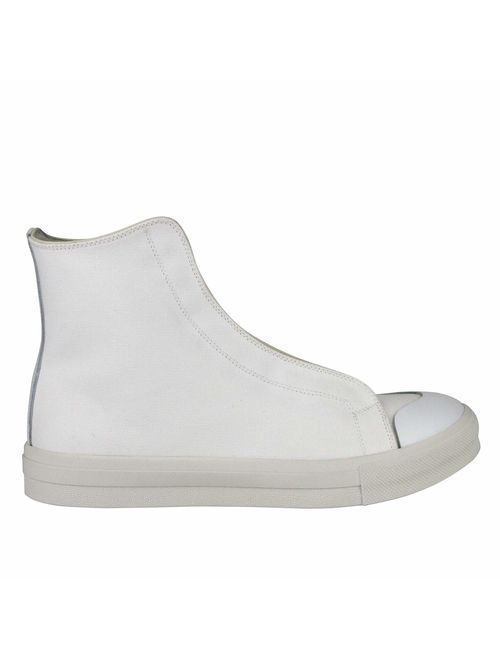 Alexander McQueen Men's Hi Top White/Ivory Canvas Sneaker 457297