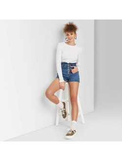 Gh-rise Belted Paperbag Waist Jean Shorts - Wild Fable Medium Wash