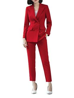 Women's Two Pieces Blazer Office Lady Suit Set Work Blazer Jacket And Pant