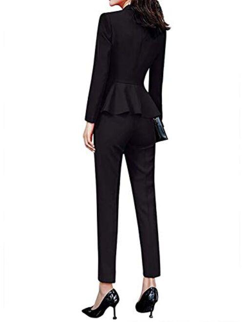 LISUEYNE Women's 2 Pieces Office Blazer Suit Slim Fit Work Suits for Women Blazer Jacket, Pant/Skirt Suits