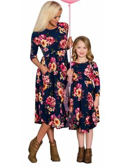 Family Matching Flower Print O-Neck Midi Dress Mommy and Me High Waist Spring Summer Fall Dress