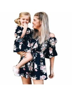 Family Matching Off Shoulder Mini Dress Mommy and Me Flower Print High Waist 3/4 Sleeve Short Dress with Belt