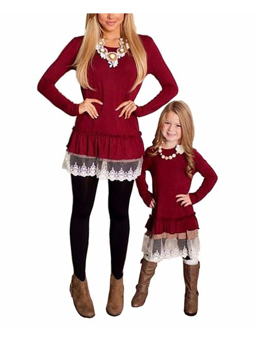 Matching Family Outfits, Mommy and Me Shirts for Women Toddler Girls Cold Winter Off-Shoulder Orange Sweater
