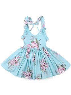 Flofallzique Floral Little Girls Dress Summer Vintage Casual Boho Toddler Valentine Dress