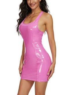 Rozegaga Womens Sexy Scoop Neck Thick Shoulder Latex Mini Party Dresses