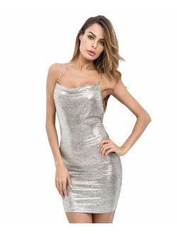 Women's Open Back Glitter Chain Criss Cross Cami Mini Bodycon Party Club Dress