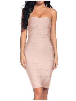 Madam Uniq Women's Sexy Strapless Rayon Bodycon Party Bandage Mini Dress